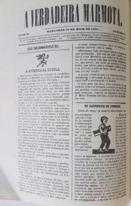Imagem da resenha de Úrsula publicada no jornal A Verdadeira Marmota, em 13/05/1861).
