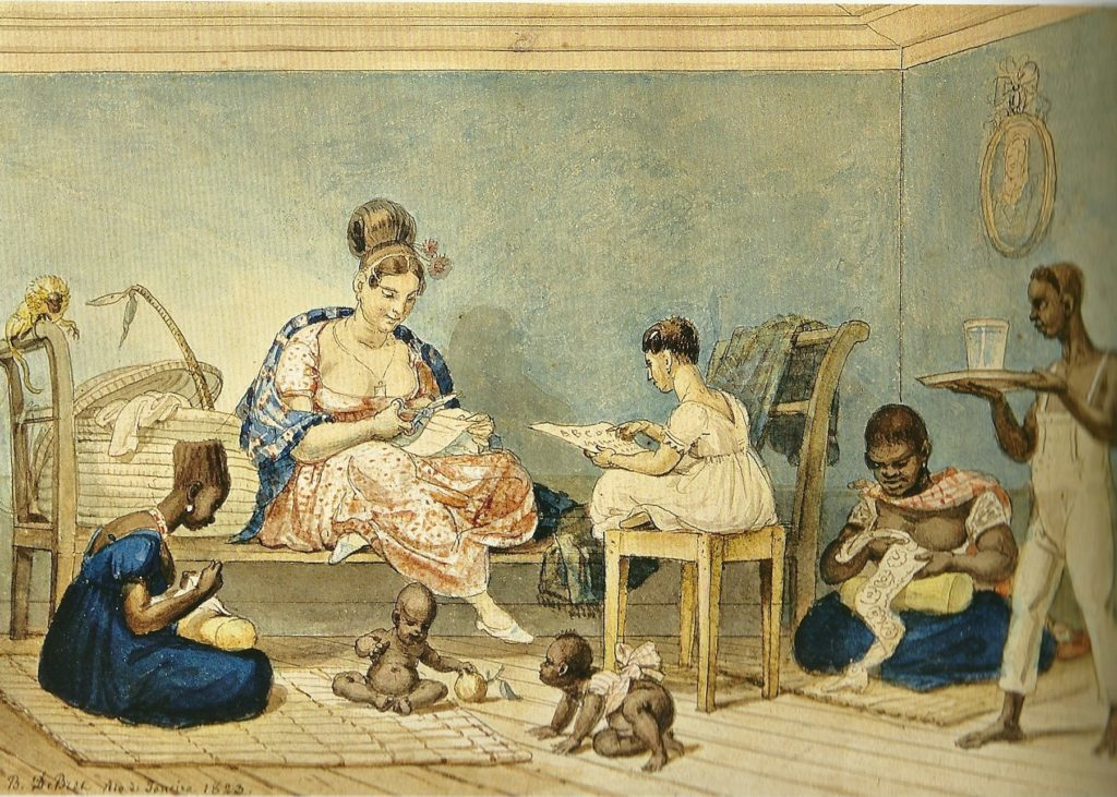 """Jean-Baptiste Debret. """"Uma senhora de algumas posses em sua casa""""; aquarela sobre papel, 16,2 x 23 cm, Rio de Janeiro, 1823."""