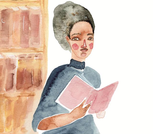 Aquarela. Ilustração de Maria Firmina, Janaina Tokitaka para o livro ABCDelas.